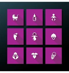 flat baby icon set vector image
