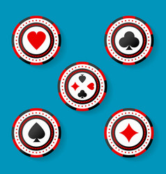 Icon set of casino chips symbols with cards suits vector