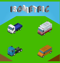 Isometric automobile set of lorry truck first vector