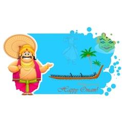 King Mahabali enjoying Boat Race of Kerla vector image
