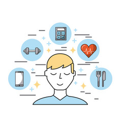 man surrounded by healthy lifestyle related icons vector image