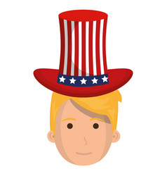 man with usa hat vector image