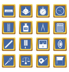 Measure precision icons set blue vector