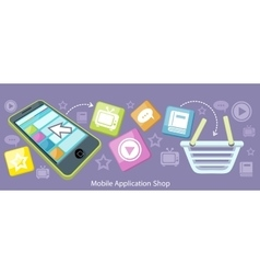 Mobile Application Shop Flat Design vector image vector image