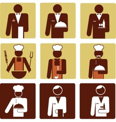 Nine chef and waiter icons vector