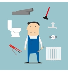Plumber with tools and equipment vector image vector image