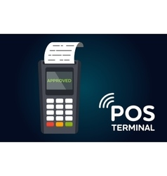Pos payment terminal flat icon vector
