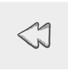 Rewind button sketch icon vector
