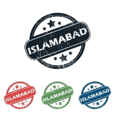 Round islamabad city stamp set vector