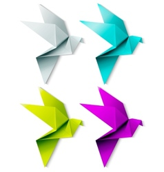 Set of colorful origami bird eps 10 vector