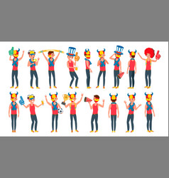 sports fan outfits shouting cheering at vector image vector image