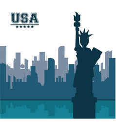 statue of liberty united states usa new york city vector image