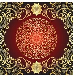 Vintage gold and dark red frame vector