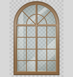 Wooden arched window vector