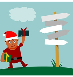 Young Santa Claus choice of direction vector image vector image