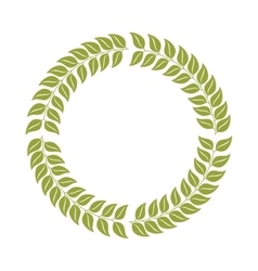Round border frame with green leaves vector image