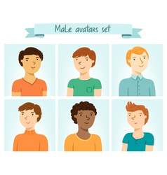 Male avatars set vector