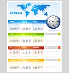 2014 colourful corporate global office calendar vector