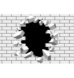 Brick wall break background Destroyed vector image