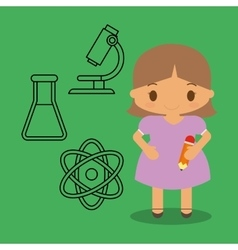 cartoon girl pencil chemistry icons green vector image