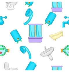 Bathroom pattern cartoon style vector image