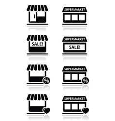 Single shop store supermarket icons set vector image