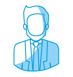 Blue silhouette with half body of faceless man vector
