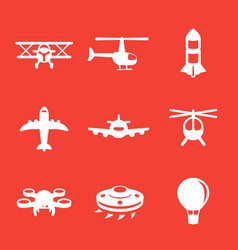 Aircrafts icons airplane aviation air transport vector