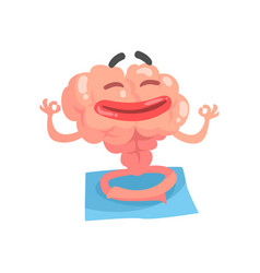 Relaxed humanized cartoon brain character vector