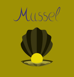 Flat on background mussel vector