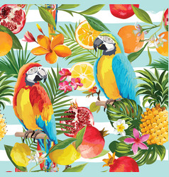 seamless tropical fruits and parrot pattern vector image