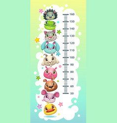 Kids height chart template with funny cartoon vector