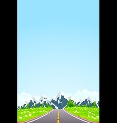 Green Landscape with Road Clouds and mountains vector image