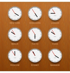 Timezone clocks showing different time wooden vector image