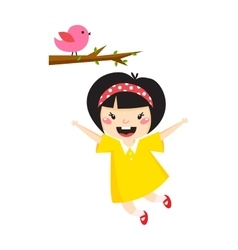 Beautiful romantic asian girl and bird cute vector