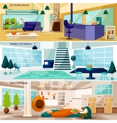 Loft stidio interiors banners set vector