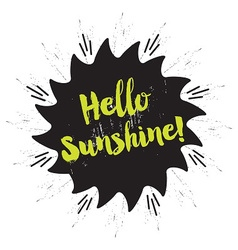 Hello sunshine emblem message on star emblem vector