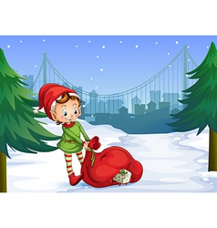 An elf with a red sack full of gifts vector image vector image
