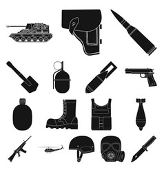 Army and armament black icons in set collection vector