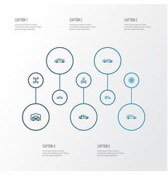 Auto icons line style set with sedan carcass car vector