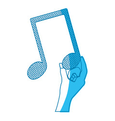 Blue silhouette of hand holding the musical note vector
