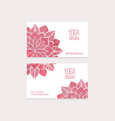 Business cards templates watercolor flowers vector