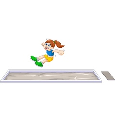 Cartoon woman athlete doing long jump in the compe vector