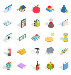 Chemical reactions icons set isometric style vector