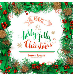 christmas decoration of holly berries pine vector image vector image