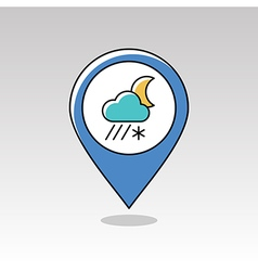 Cloud snow rain moon pin map icon weather vector