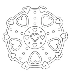 Coloring simple heart mandala vector