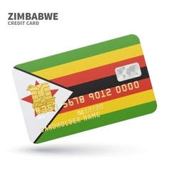Credit card with Zimbabwe flag background for bank vector image vector image