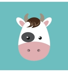 cute cow animal farm isolated icon design vector image vector image