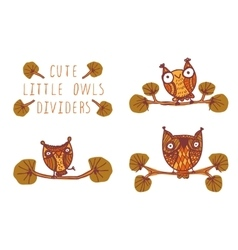 Cute little owls - dividers vector image vector image